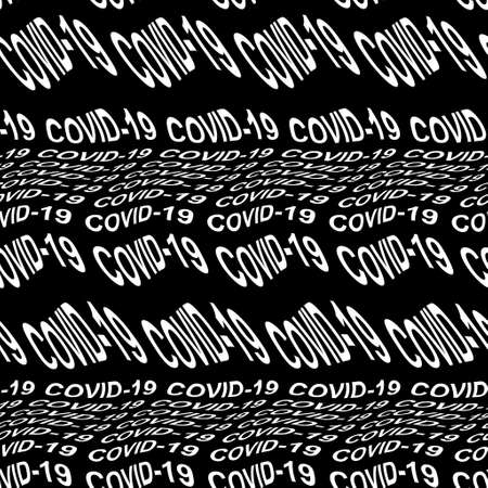 COVID-10 word warped, distorted, repeated, and arranged into seamless pattern background