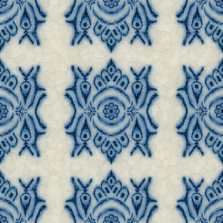 Seamless cracked blue and white ceramic design