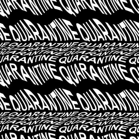 QUARANTINE word warped, distorted, repeated, and arranged into seamless pattern background 版權商用圖片