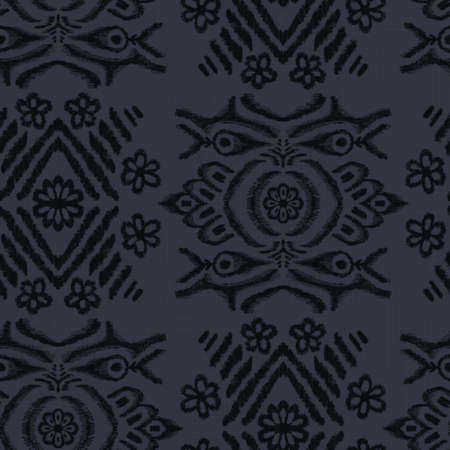 Seamless almost black ethnic rug motif pattern.