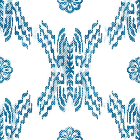 Seamless blue crosshatch tribal rug motif pattern.