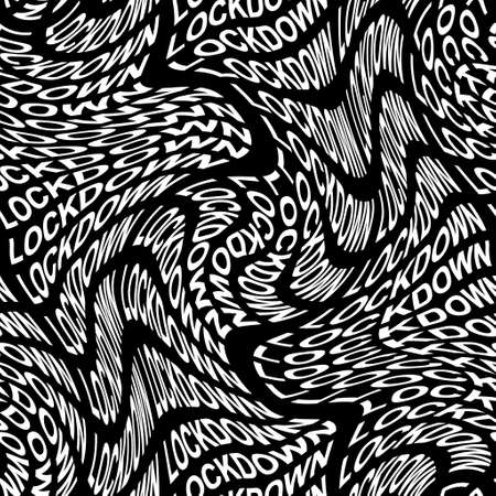 LOCKDOWN word warped, distorted, repeated, and arranged into seamless pattern background.