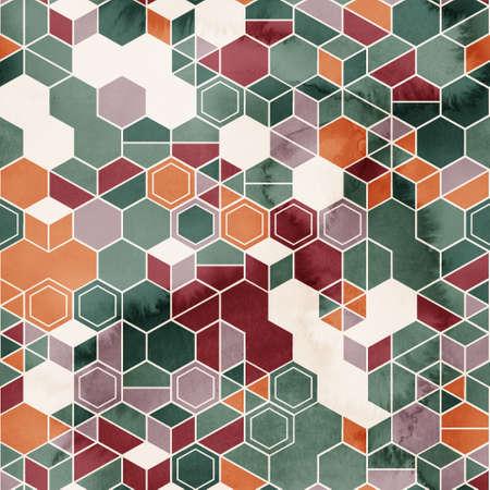 Seamless pattern of hexagons in random colors in watercolor 版權商用圖片
