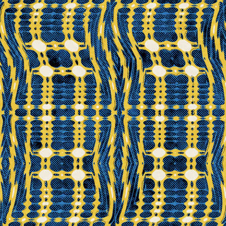 Seamless abstract vibrant blue and yellow pattern for print