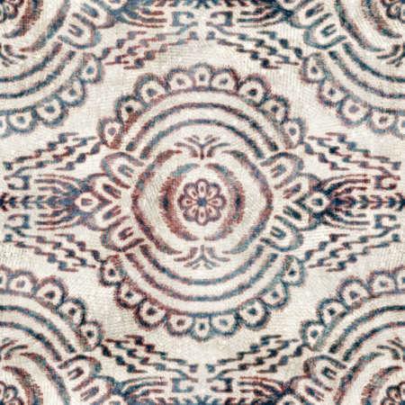 Seamless grungy tribal ethnic rug motif pattern. Stock Photo