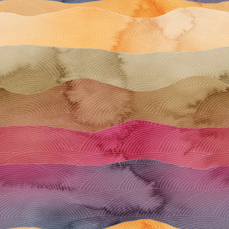 Seamless chic colorful pattern of patterned hills in watercolor. 版權商用圖片