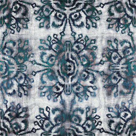 Seamless grungy tribal ethnic rug motif pattern. 版權商用圖片