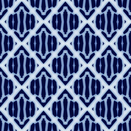 Seamless blue and white ceramic tile ornate damask pattern for surface design and print
