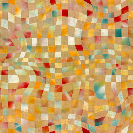 Seamless abstract wavy distorted check pattern for print