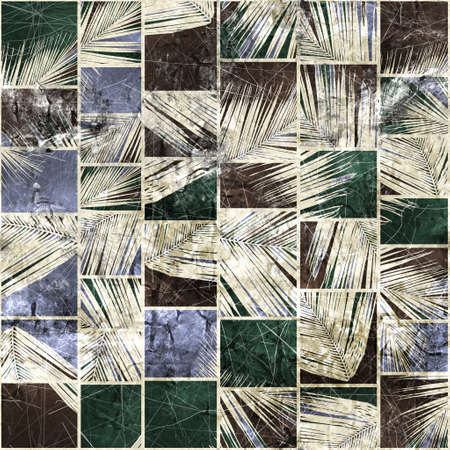 Seamless faded grungy mosaic of palm leaves in rectangles Standard-Bild