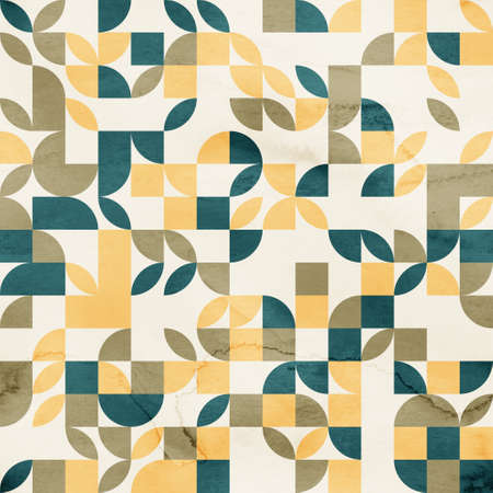 Seamless mid century retro watercolor geometric surface pattern design for print