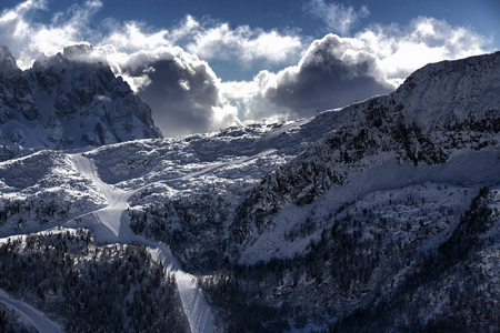 Snow-covered Passo San Pellegrino ski resort