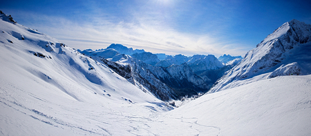 Winter mountain panorama from the top of the Dolomites, Mt Marmolada Stock Photo