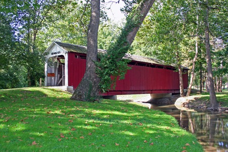windless: Covered bridge on a warm, windless day in late summer