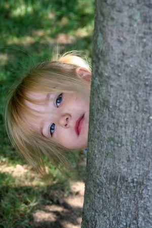 peekaboo: little girl playing peek-a-boo around a tree
