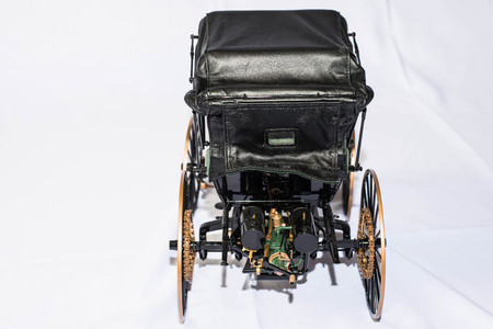 Rear view of model of 1893 Duryea 스톡 콘텐츠