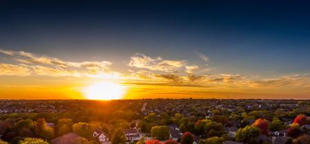Autum sunset over the neighborhood