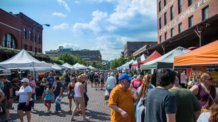 Saturday August 18th 2018 at the Old Market farmers market in Omaha Nebraska USA