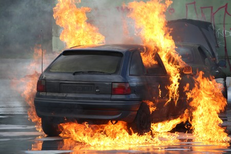 Burning Car Stok Fotoğraf