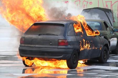 explosion engine: Burning Car Stock Photo