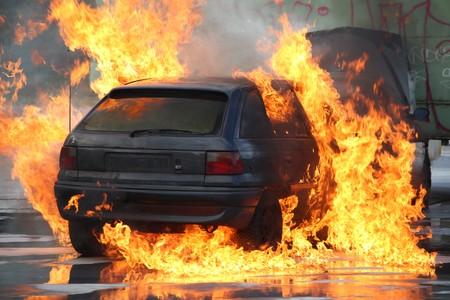 Burning Car Stockfoto