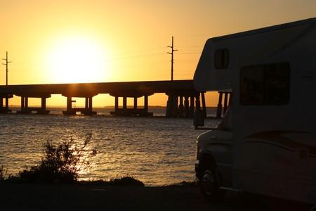 camping pitch: sunset Florida Keys Stock Photo