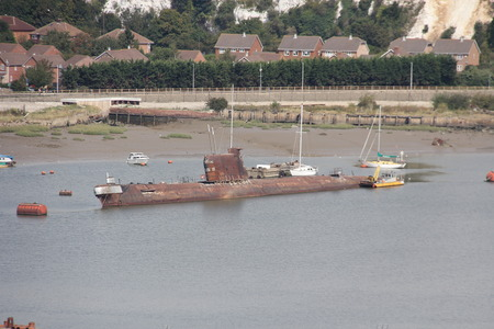 scrapped: old submarine Stock Photo