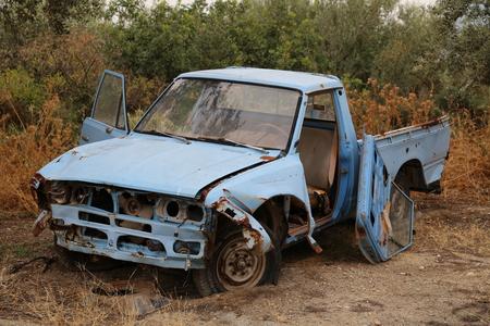 ferraille: voiture mise � la ferraille Banque d'images