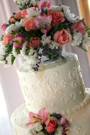 cake tier: closeup of wedding cake Stock Photo