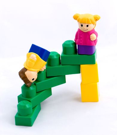yet another toy story of success and triumph (sometimes with a fight) Stock Photo