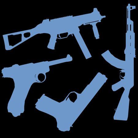 keyline: a set of gun illustrations