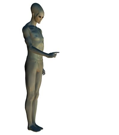 3d rendering of a classical alien (series w clipping mask) Stock Photo