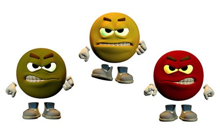 large emoticons showing angry faces
