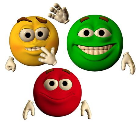 large emoticons showing happy faces Banco de Imagens