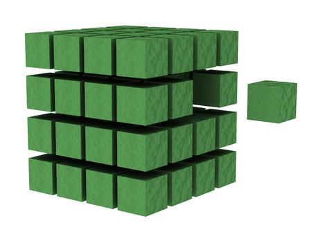 mutual: #2 - a 3d render of a cube (part of a series)