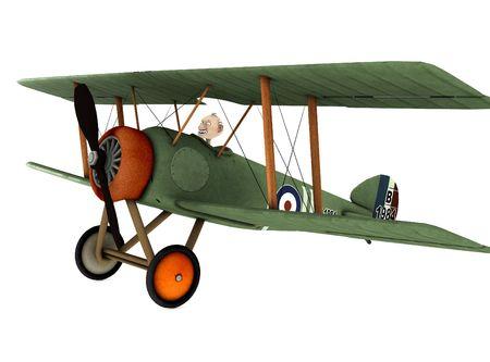 man of war: a cartoon biplane Stock Photo