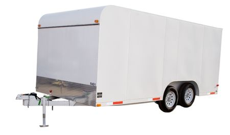 an isolated enclosed trailer Stock Photo