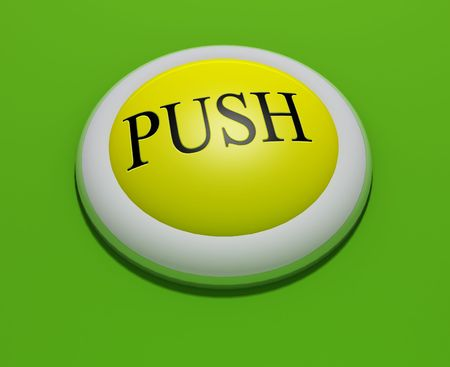 #3 - a 3d rendered button with embossed text (could be replaced). Part of a series photo