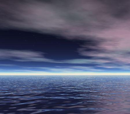 an ocean skyline at dawn photo