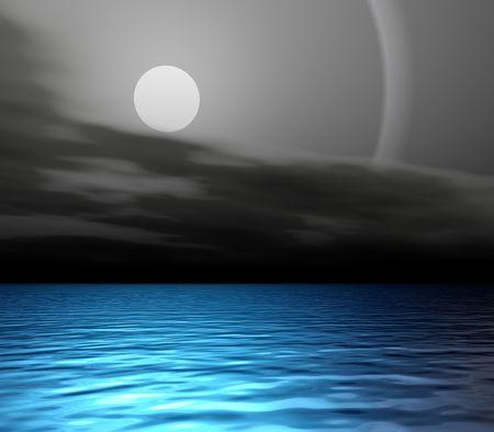 ocean skyline lit by the moon photo