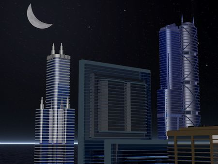 skyline buildings at night Banco de Imagens