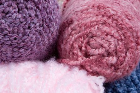 closeup of fluffy yarn (for hats) photo