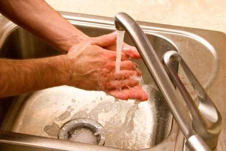 hands washing male Stock Photo