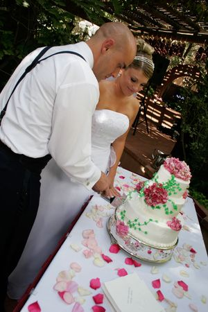 bride and groom cut the cake photo