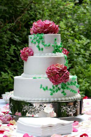 receptions: a three tiered wedding cake