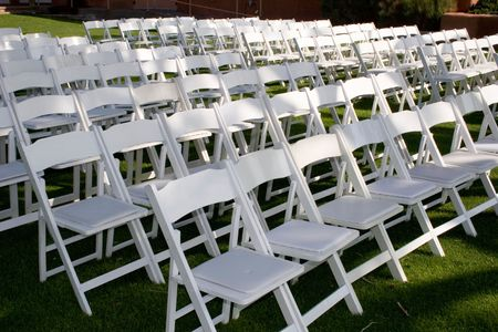 chairs are set up for the ceremony Stock Photo