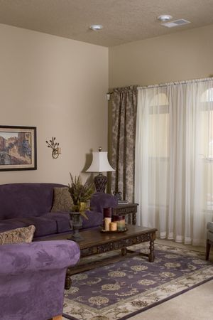 living room in a model home photo
