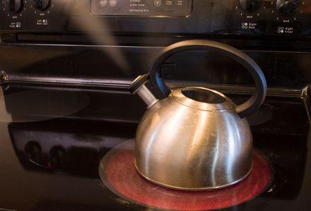 a pot warming water