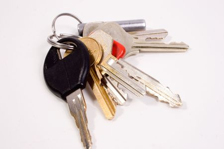 private access: a set of normal random keys on a chain Stock Photo