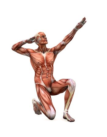 muscle man in strange poses